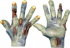 Halloween Zombie Latex-Handschuhe für Erwachsene braun