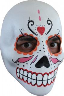 Dia de los Muertos-Maske Sugar Skull Halloweenmaske weiss-bunt