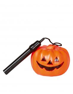 Halloween Kürbis Taschenlampe schwarz-orange 25 cm lang