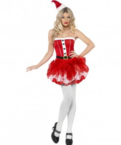 Sexy Weihnachtsfrau Tutu Damenkostüm rot-weiss-schwarz