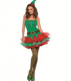 Sexy Weihnachtswichtel Damenkostüm Weihnachtself grün-rot