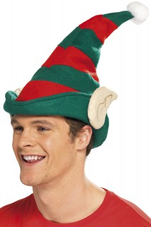 Elf Mütze mit Ohren Kostüm-Zubehör rot-grün