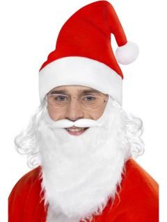 Weihnachtsmann-Accessoire-Set Mütze Brille und Bart weiss-rot