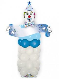 Lustiges Party Spiel Luftballon Clown weiss-blau 1,6m