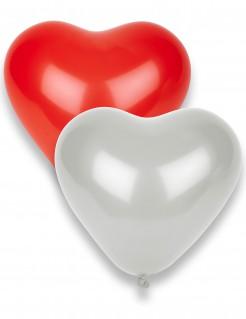 Romantische Herz Luftballons Valentinstag 10 Stück rot-weiss 33x36cm