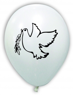 Party Luftballon Hochzeit Friedenstaube 10 Stück weiss-schwarz-grün
