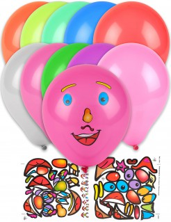 Lustige Luftballons mit Gesicht und Stickern 10 Stück bunt