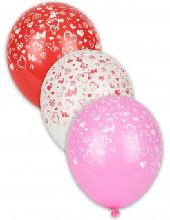 Hochzeit Party-Dekoration Luftballons mit Herzmotiv 8 Stück bunt