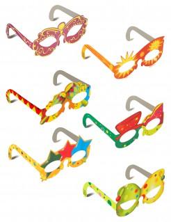 Fröhliche Karnevals Party Pappbrillen 6-teilig bunt