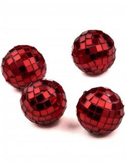 Party Zubehör Mini Discokkugeln 4 Stück rot 3,5cm
