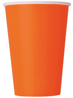 Party-Becher Pappbecher 10 Stück orange 355ml