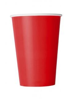 Große Pappbecher für Party 10 Stück rot 335 ml