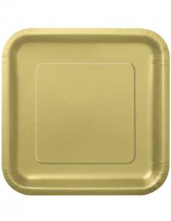 Party Pappteller quadratisch 14 Stück gold 23cm