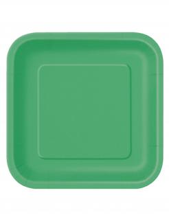Party Pappteller quadratisch 14 Stück grün 23cm