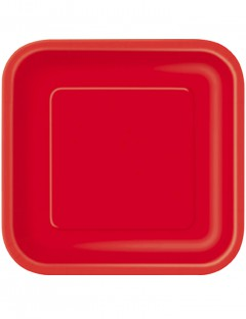 Party Pappteller quadratisch 14 Stück rot 23cm