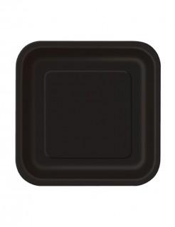 kleine Party-Teller quadratische Teller 16 Stück schwarz 17x17cm
