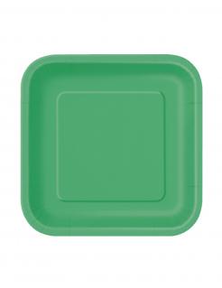 Party Pappteller quadratisch klein 16 Stück grün 18cm