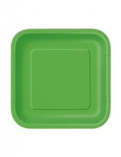 Viereckige Partyteller Pappteller 16 Stück grün 18x18cm