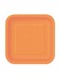 Partyteller quadratische Teller 16 Stück orange 18x18cm