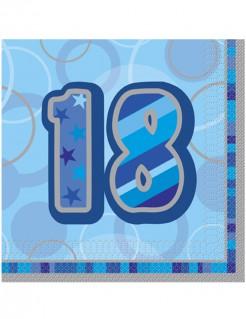 18 Jahre Servietten Geburtstagsservietten Jubiläumsdeko 16 Stück blau-lila-grau 33x33cm