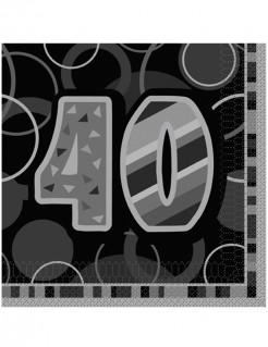 40 Jahre Servietten Geburtstagsservietten Jubiläumsdeko 16 Stück grau-schwarz 33x33cm