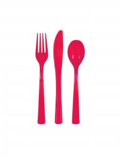 Besteck aus Kunststoff Tischdeko 18-teilig rot