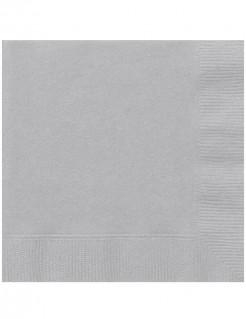 Edle Papierservietten Party-Tischdeko 20 Stück silber 33 x 33cm