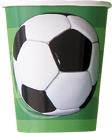 3D-Fussball-Pappbecher 8 Stück grün-schwarz-weiss 270ml