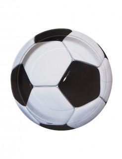 Fussball-Pappteller 8 Stück schwarz-weiss 18cm