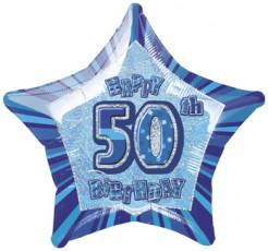 50 Jahre Happy Birthday Aluminiumballon Geburtstagsballon blau-silber 50x53cm