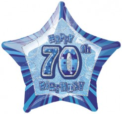 Happy Birthday Stern Luftballon 70 Jahre blau