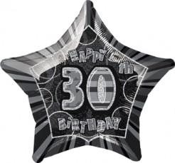 Happy Birthday Stern Luftballon 30 Jahre schwarz-grau