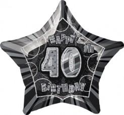 Happy Birthday Stern Luftballon 40 Jahre schwarz-grau
