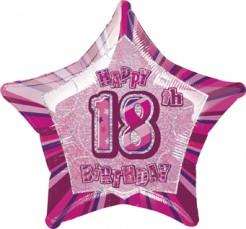 Happy Birthday Stern Luftballon 18 Jahre pink