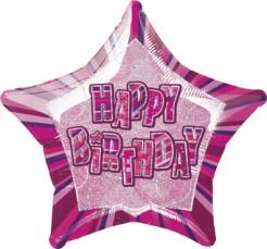 Happy Birthday Stern Luftballon pink