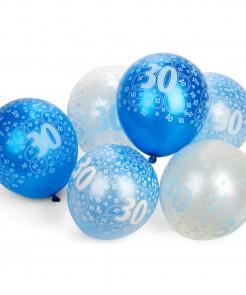 30 Jahre Ballons Geburtstagsdeko Jubiläumsballons 6 Stück blau-hellblau-weiss