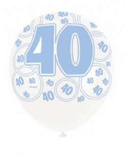 Party Luftballon 40 Jahre 6-teilig blau-weiss