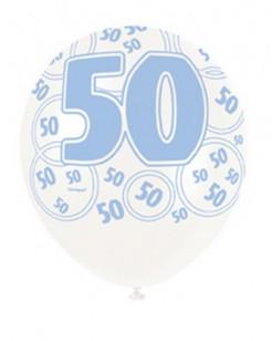 50 Jahre Ballons Geburtstagsdeko Jubiläumsballons 6 Stück blau-weiss 30cm