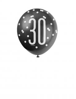 Party Luftballon 30 Jahre 6-teilig schwarz-weiss-grau