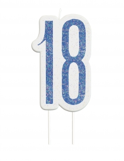 Geburtstagskerze 18 Jahre Tortendeko blau-weiss