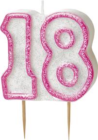 Geburtstagskerze 18 Jahre Tortendeko rosa-weiss