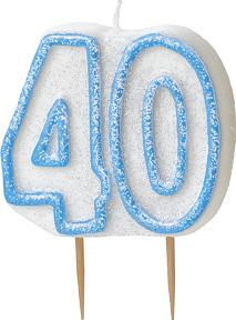 Geburtstagskerze 40 Jahre Tortendeko blau-weiss