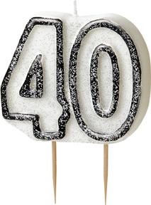 Geburtstagskerze 40 Jahre Tortendeko schwarz-weiss