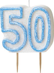 Geburtstagskerze 50 Jahre Tortendeko blau-weiss