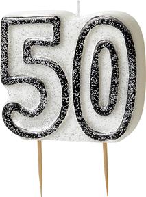 Geburtstagskerze 50 Jahre Tortendeko schwarz-weiss