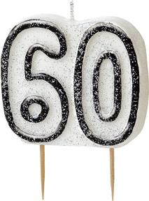 Geburtstagskerze 60 Jahre schwarz-weiss