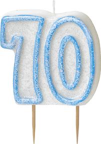 Geburtstagskerze 70 Jahre Tortendeko blau-weiss