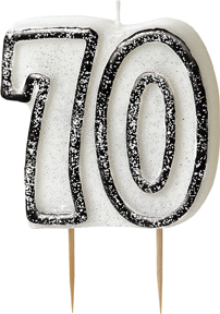 Geburtstagskerze 70 Jahre Tortendeko schwarz-weiss