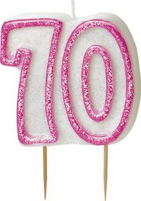 Geburtstagskerze 70 Jahre Tortendeko rosa-weiss