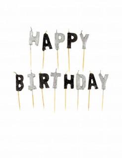 Geburtstagskerzen Happy Birthday 13-teilig schwarz-silber
